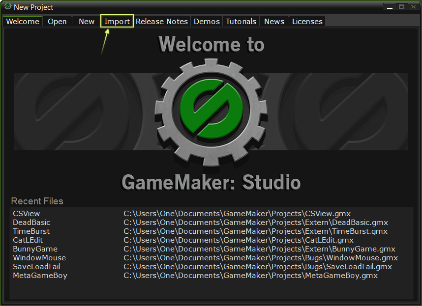Открытие GameMaker 8.1, 8, 7, 6, 5 проектов в GameMaker: Studio. Шаг 2