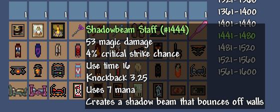 Terraria item browsing in Terrasavr