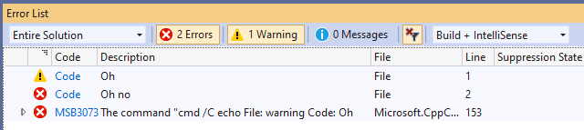 Custom warning and error messages in a Post-Build Event in Visual Studio